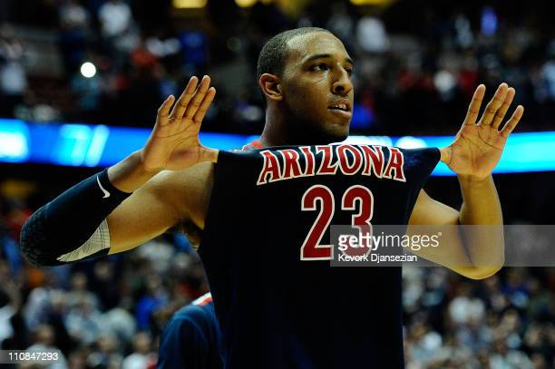 Derrick Williams of the Arizona Wildcats reacts after defeating the Duke Blue Devils during the west regional semifinal of the 2011 NCAA men's...