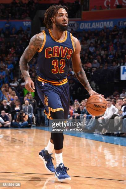 Derrick Williams of the Cleveland Cavaliers dribbles the ball up the court against the Oklahoma City Thunder during the game on February 9 2017 at...