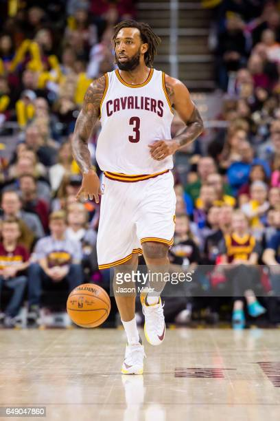 Derrick Williams of the Cleveland Cavaliers drives down court during the second half against the Denver Nuggets at Quicken Loans Arena on February 11...