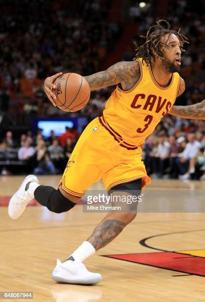 Derrick Williams of the Cleveland Cavaliers drives to the basket during a game against the Miami Heat at American Airlines Arena on March 4 2017 in...