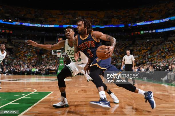 Derrick Williams of the Cleveland Cavaliers drives to the basket against the Boston Celtics during Game Two of the Eastern Conference Finals of the...