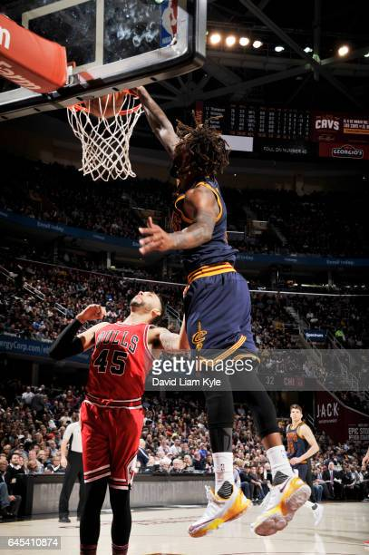 Derrick Williams of the Cleveland Cavaliers dunks against the Chicago Bulls during the game on February 25 2017 at Quicken Loans Arena in Cleveland...