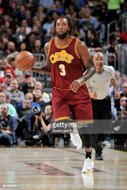 Derrick Williams of the Cleveland Cavaliers handles the ball against the New York Knicks on February 23 2017 at Quicken Loans Arena in Cleveland Ohio...