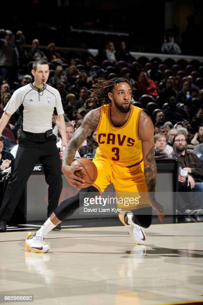Derrick Williams of the Cleveland Cavaliers handles the ball during a game against the Atlanta Hawks on April 7 2017 at Quicken Loans Arena in...