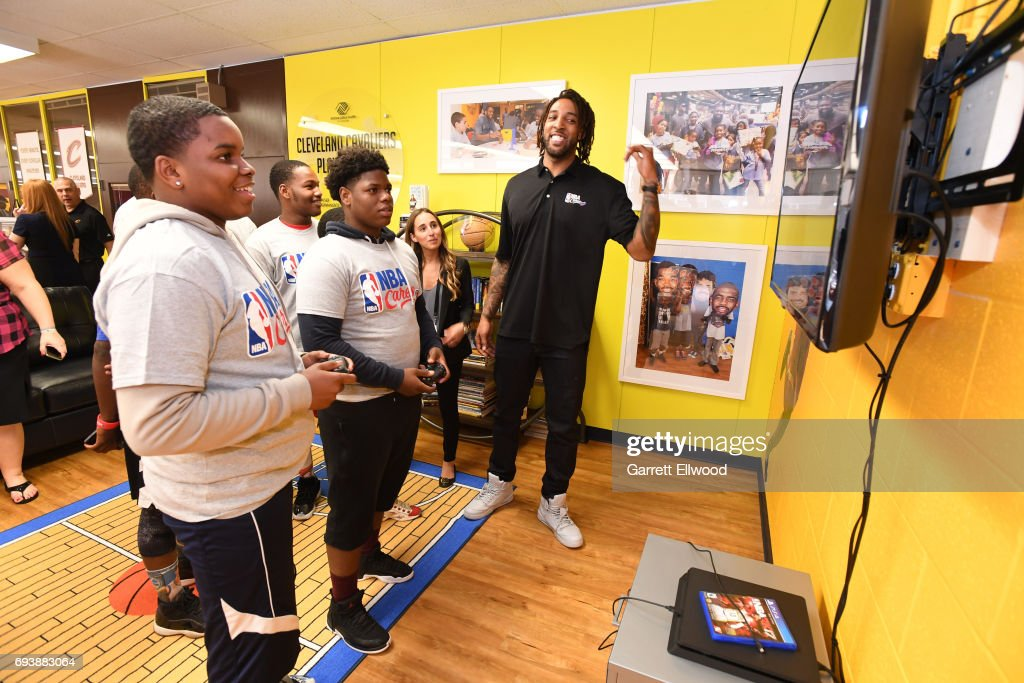 Derrick Williams of the Cleveland Cavaliers interacts with the kids at the 2017 NBA Finals Cares Legacy Project as part of the 2017 NBA Finals on June 8, 2017 at Boys & Girls Clubs of Cleveland at East Tech High School in Cleveland, Ohio.