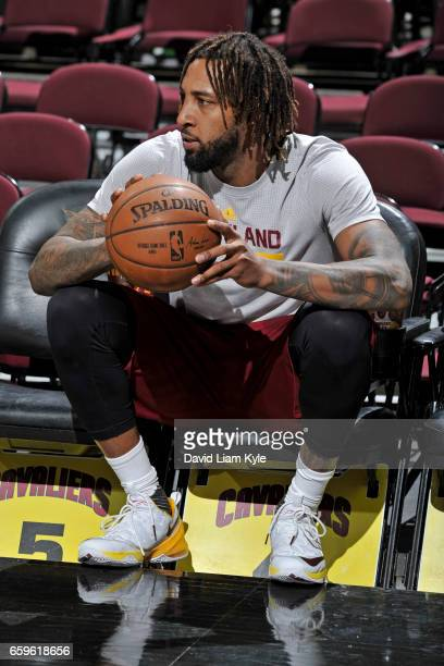 Derrick Williams of the Cleveland Cavaliers looks on before a game against the Washington Wizards on March 25 2017 at Quicken Loans Arena in...
