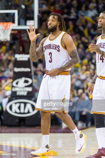 Derrick Williams of the Cleveland Cavaliers reacts after a play during the second half against the Denver Nuggets at Quicken Loans Arena on February...