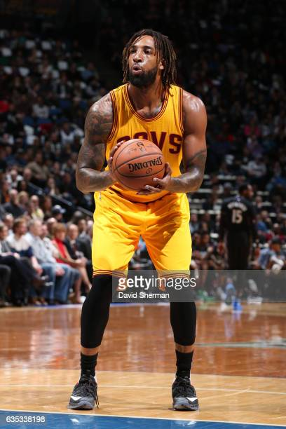 Derrick Williams of the Cleveland Cavaliers shoots a free throw during a game against the Minnesota Timberwolves on February 14 2017 at the Target...