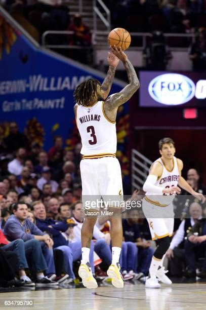 Derrick Williams of the Cleveland Cavaliers shoots during the first half against the Denver Nuggets at Quicken Loans Arena on February 11 2017 in...