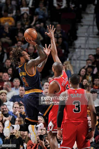 Derrick Williams of the Cleveland Cavaliers shoots the ball against the Chicago Bulls during the game on February 25 2017 at Quicken Loans Arena in...