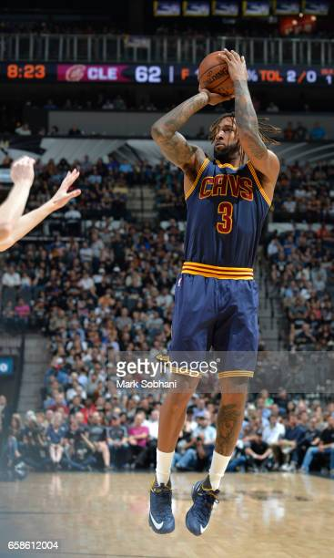 Derrick Williams of the Cleveland Cavaliers shoots the ball against the San Antonio Spurs during the game on March 27 2017 at the ATT Center in San...