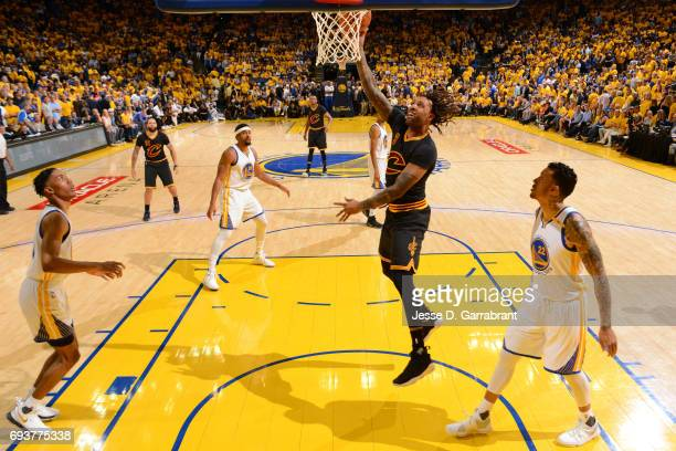 Derrick Williams of the Cleveland Cavaliers shoots the ball against the Golden State Warriors in Game Two of the 2017 NBA Finals at Oracle Arena on...