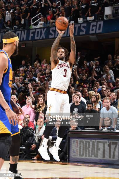 Derrick Williams of the Cleveland Cavaliers shoots the ball against the Golden State Warriors in Game Four of the 2017 NBA Finals on June 9 2017 at...