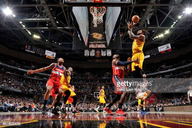 Derrick Williams of the Cleveland Cavaliers shoots the ball during the game against the Washington Wizards on March 25 2017 at Quicken Loans Arena in...