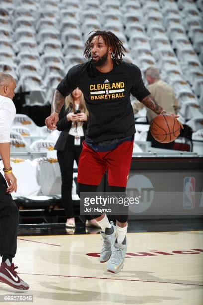 Derrick Williams of the Cleveland Cavaliers warms up before the game against the Indiana Pacers during Game Two the Eastern Conference Quarterfinals...