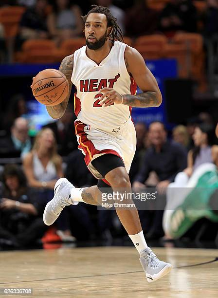 Derrick Williams of the Miami Heat brings the ball up during a game against the Boston Celtics at American Airlines Arena on November 28 2016 in...