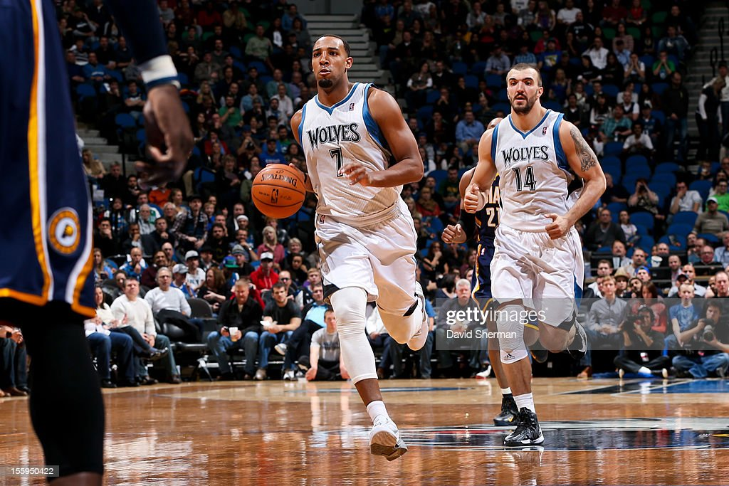 Derrick Williams #7 of the Minnesota Timberwolves brings the ball up court against the Indiana Pacers on November 9, 2012 at Target Center in Minneapolis, Minnesota.
