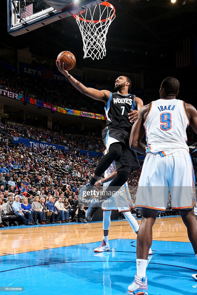 Derrick Williams #7 of the Minnesota Timberwolves drives to the basket against the Oklahoma City Thunder on February 22, 2013 at the Chesapeake Energy Arena in Oklahoma City, Oklahoma.