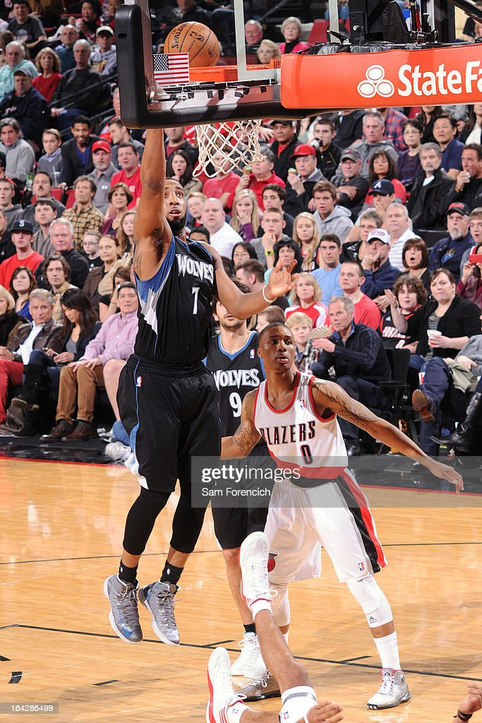 Derrick Williams #7 of the Minnesota Timberwolves drives to the basket against the Portland Trail Blazers on March 2, 2013 at the Rose Garden Arena in Portland, Oregon.