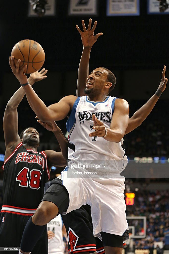 Derrick Williams #7 of the Minnesota Timberwolves drives to the basket against the Chicago Bulls on March 24, 2013 at Target Center in Minneapolis, Minnesota.
