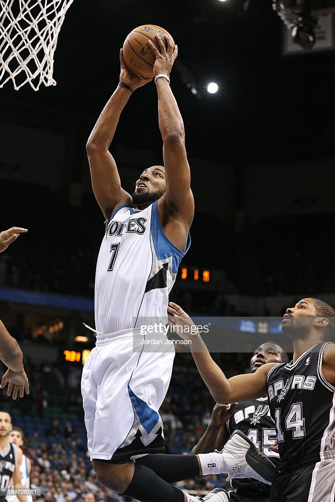 Derrick Williams #7 of the Minnesota Timberwolves drives to the basket against the San Antonio Spurs on March 12, 2013 at Target Center in Minneapolis, Minnesota.