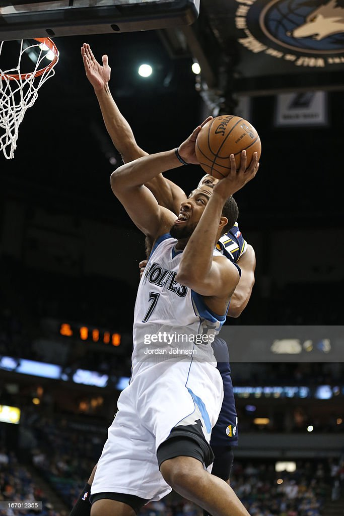 Derrick Williams #7 of the Minnesota Timberwolves drives to the basket against the Utah Jazz on April 15, 2013 at Target Center in Minneapolis, Minnesota.
