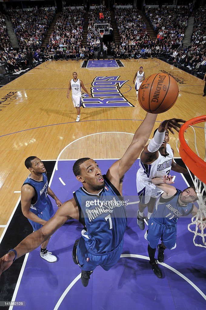 Derrick Williams #7 of the Minnesota Timberwolves dunks the ball against the Sacramento Kings on March 18, 2012 at Power Balance Pavilion in Sacramento, California.