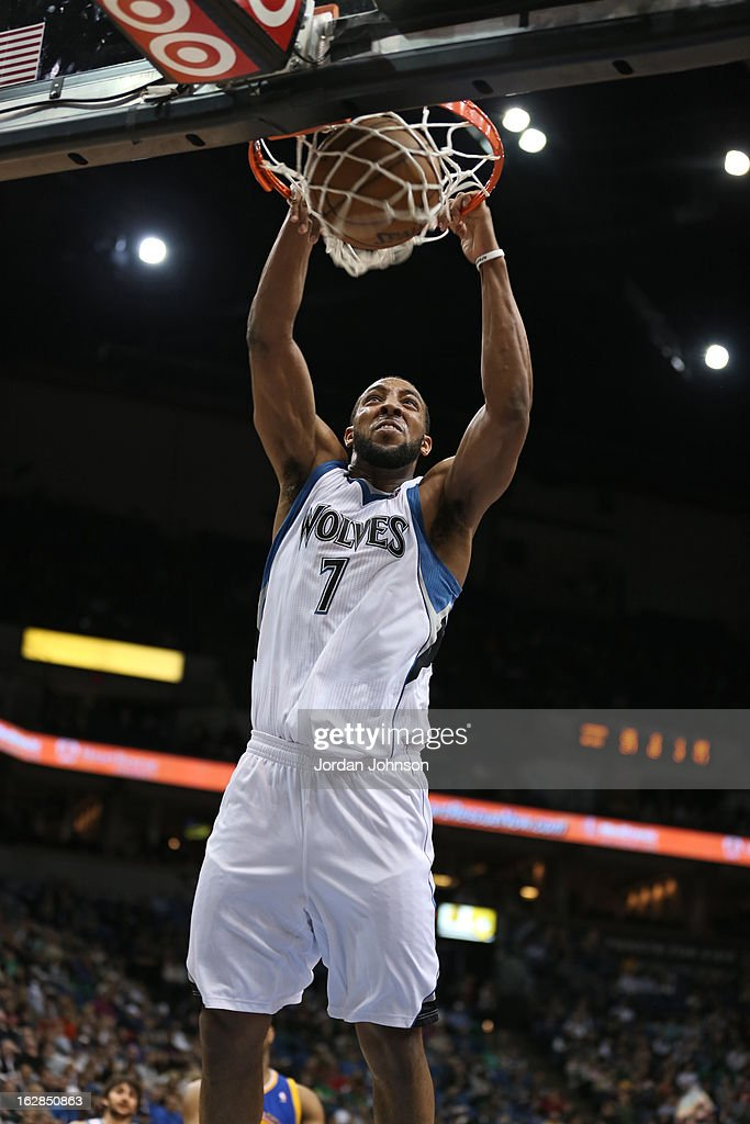Derrick Williams #7 of the Minnesota Timberwolves dunks the ball against the Golden State Warriors on February 24, 2013 at Target Center in Minneapolis, Minnesota.