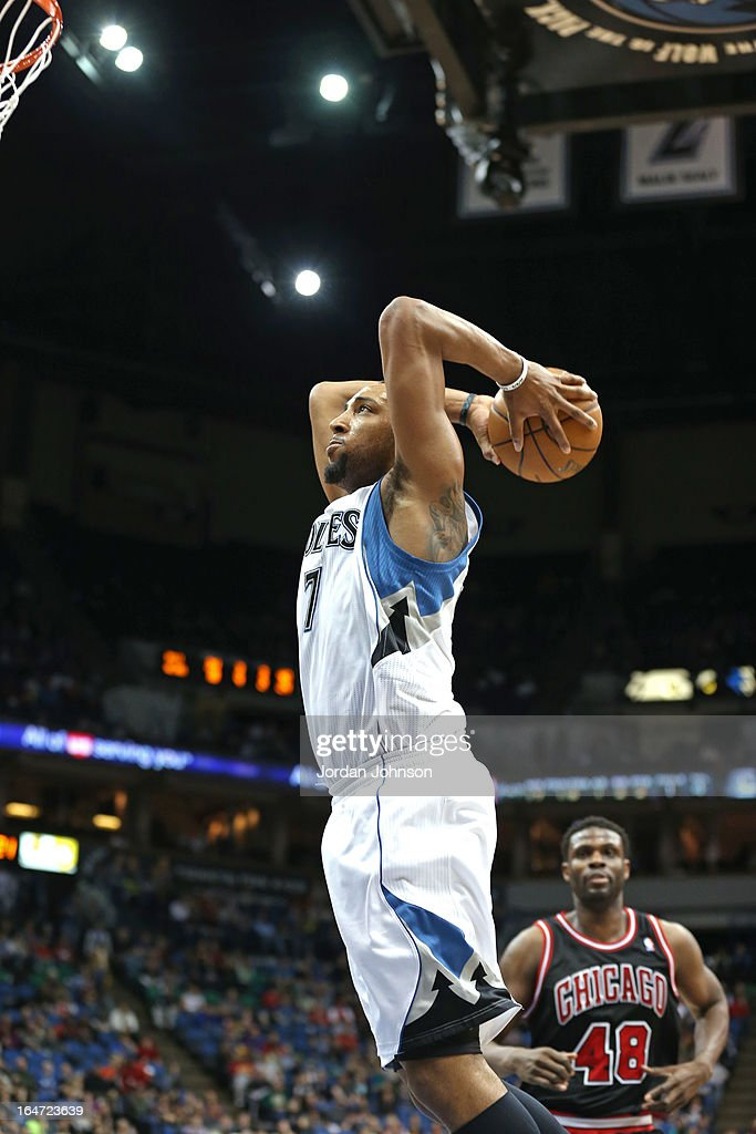 Derrick Williams #7 of the Minnesota Timberwolves dunks the ball against the Chicago Bulls on March 24, 2013 at Target Center in Minneapolis, Minnesota.