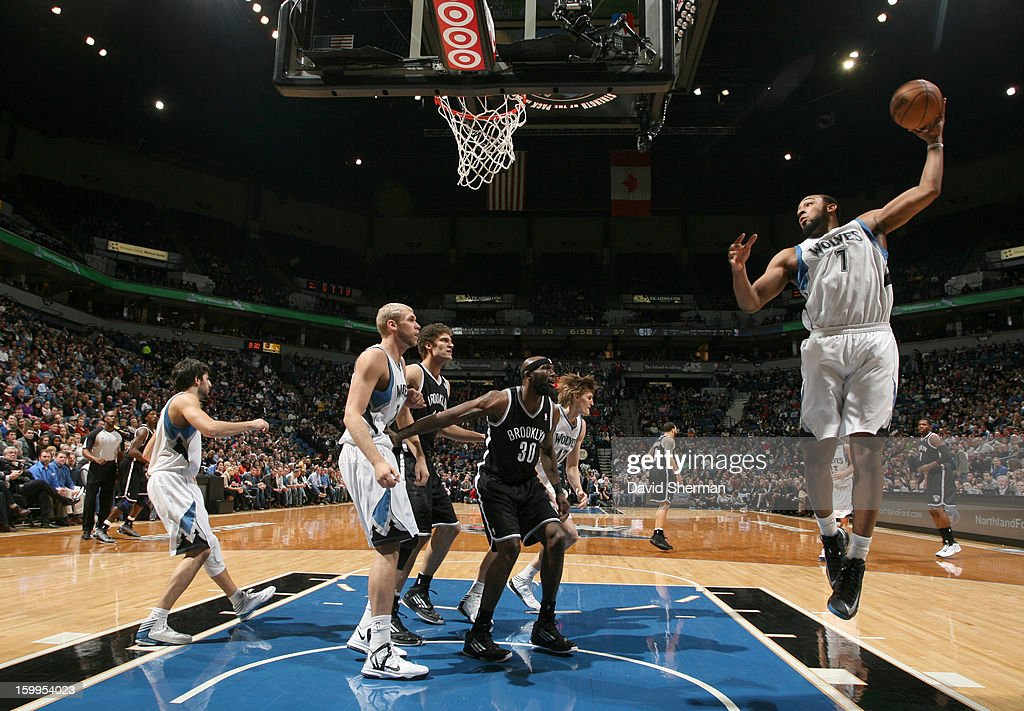 Derrick Williams #7 of the Minnesota Timberwolves goes to the basket during the game between the Minnesota Timberwolves and the Brooklyn Nets on January 23, 2013 at Target Center in Minneapolis, Minnesota.