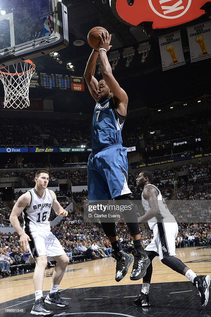 Derrick Williams #7 of the Minnesota Timberwolves grabs a rebound against the San Antonio Spurs on April 17, 2013 at the AT&T Center in San Antonio, Texas.