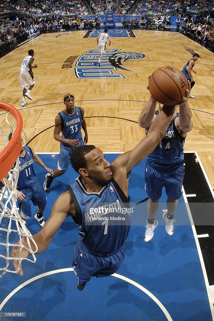 Derrick Williams #7 of the Minnesota Timberwolves grabs the rebound against the Orlando Magic on December 17, 2012 at Amway Center in Orlando, Florida.