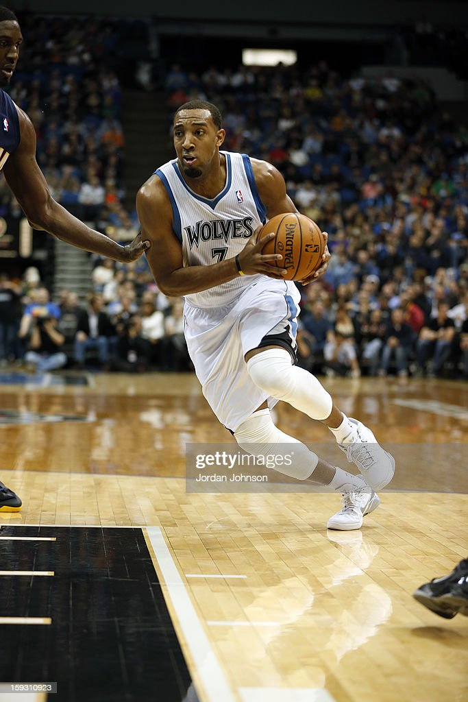 Derrick Williams #7 of the Minnesota Timberwolves handles the ball against the Indiana Pacers on November 9, 2012 at Target Center in Minneapolis, Minnesota.