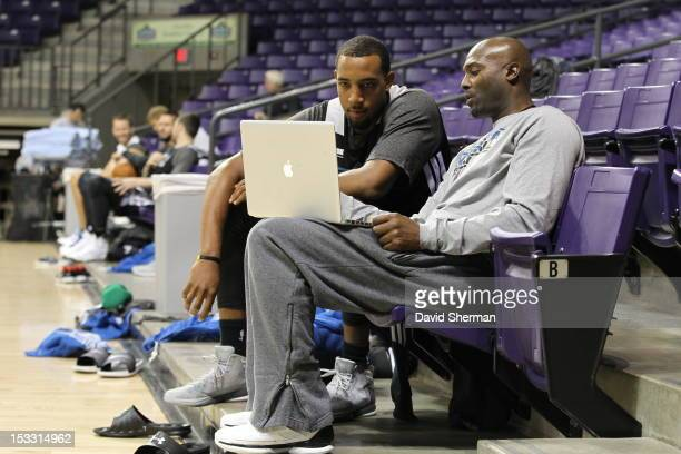 Derrick Williams of the Minnesota Timberwolves listens to instructions from Player Development Coach Shawn Respert during 2012 Training Camp on...