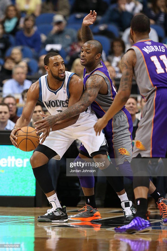 Derrick Williams #7 of the Minnesota Timberwolves looks to pass the ball against the Phoenix Suns on April 13, 2013 at Target Center in Minneapolis, Minnesota.