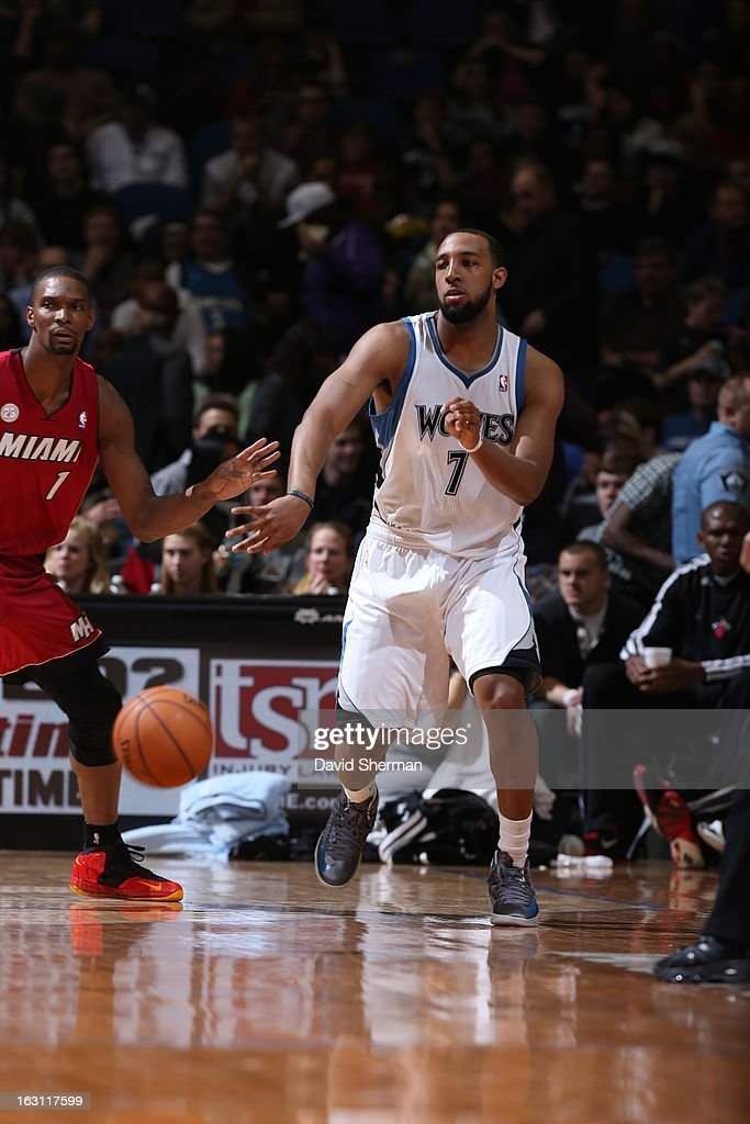 Derrick Williams #7 of the Minnesota Timberwolves passes the ball to a teammate against the Miami Heat during the game on March 4, 2013 at Target Center in Minneapolis, Minnesota.
