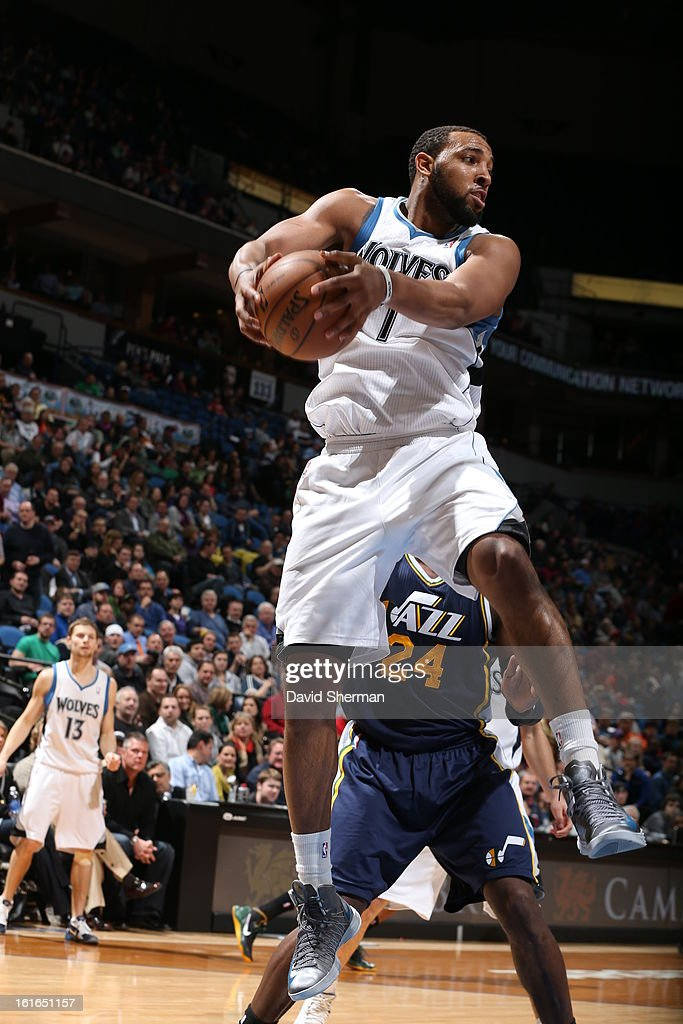 Derrick Williams #7 of the Minnesota Timberwolves rebounds against the Utah Jazz on February 13, 2013 at Target Center in Minneapolis, Minnesota.