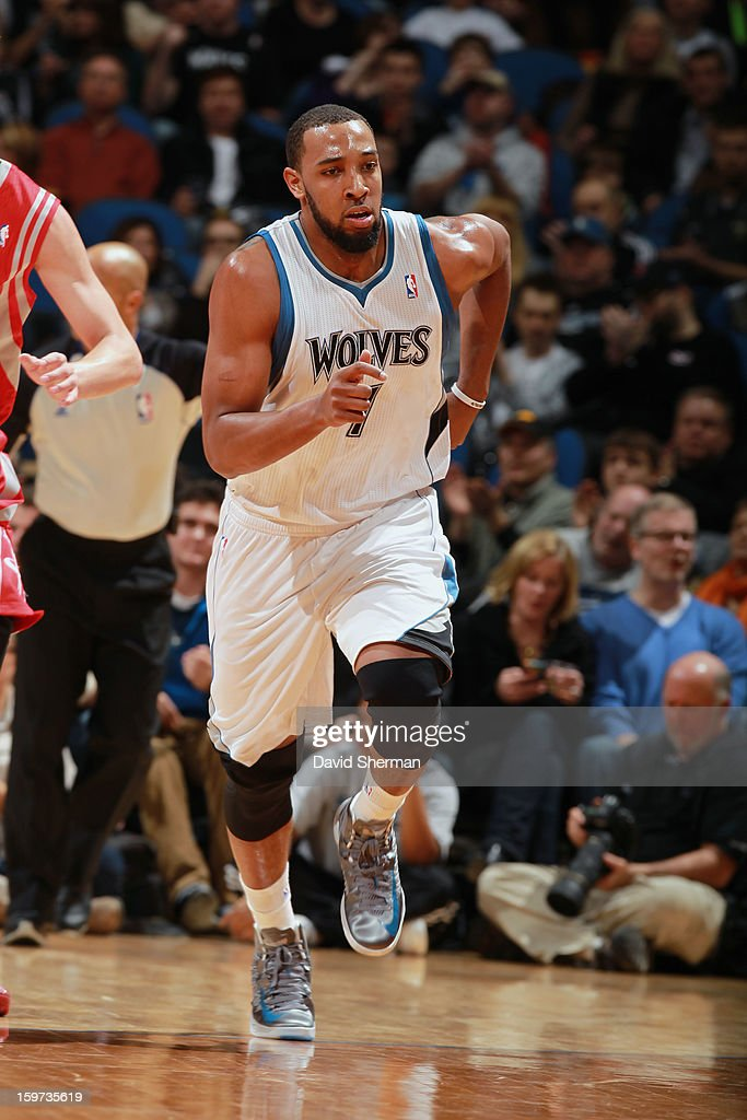 Derrick Williams #7 of the Minnesota Timberwolves runs up court after scoring against the Houston Rockets during the game on January 19, 2013 at Target Center in Minneapolis, Minnesota.