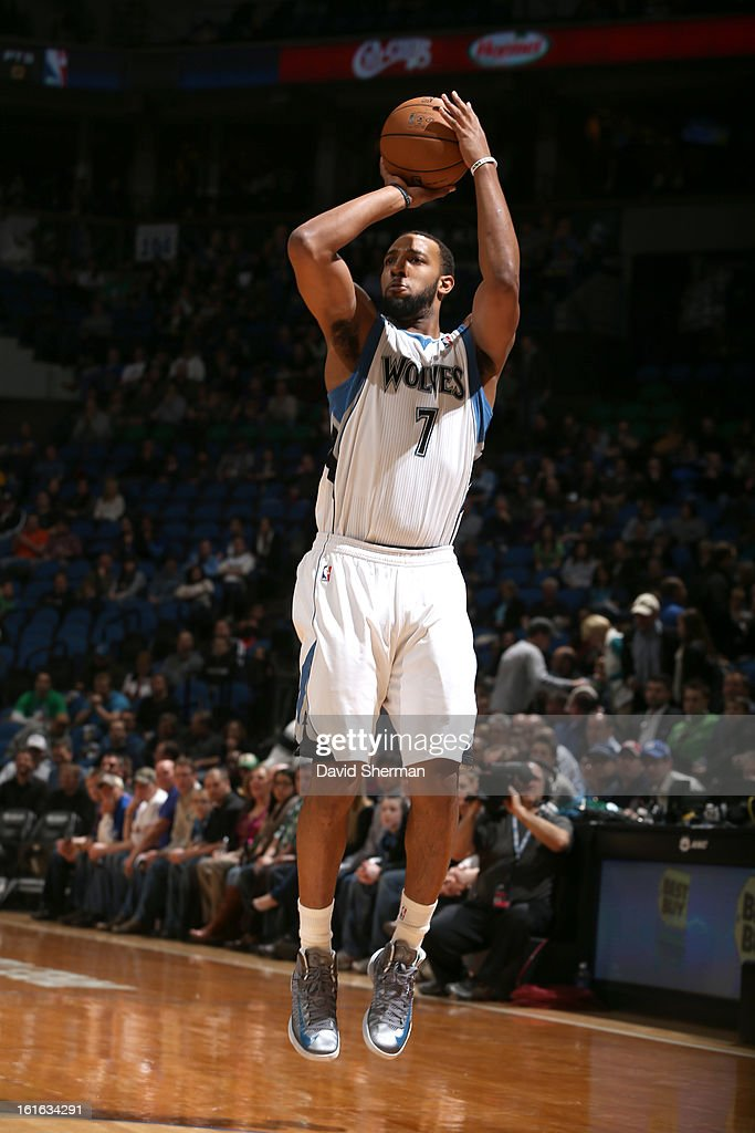 Derrick Williams #7 of the Minnesota Timberwolves shoots a jumper against the Utah Jazz on February 13, 2013 at Target Center in Minneapolis, Minnesota.