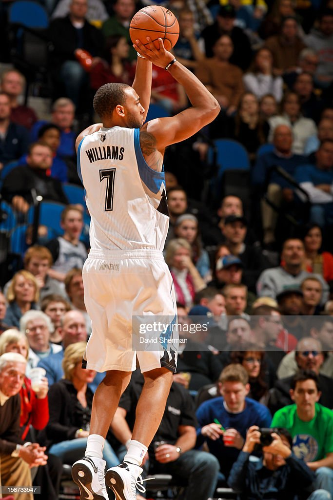 Derrick Williams #7 of the Minnesota Timberwolves shoots against the Houston Rockets on December 26, 2012 at Target Center in Minneapolis, Minnesota.