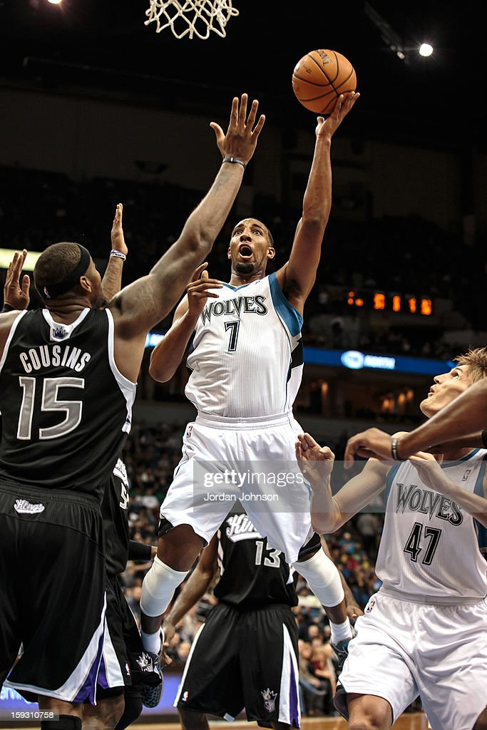 Derrick Williams #7 of the Minnesota Timberwolves shoots against the Sacramento Kings during the season opening game on November 2, 2012 at Target Center in Minneapolis, Minnesota.
