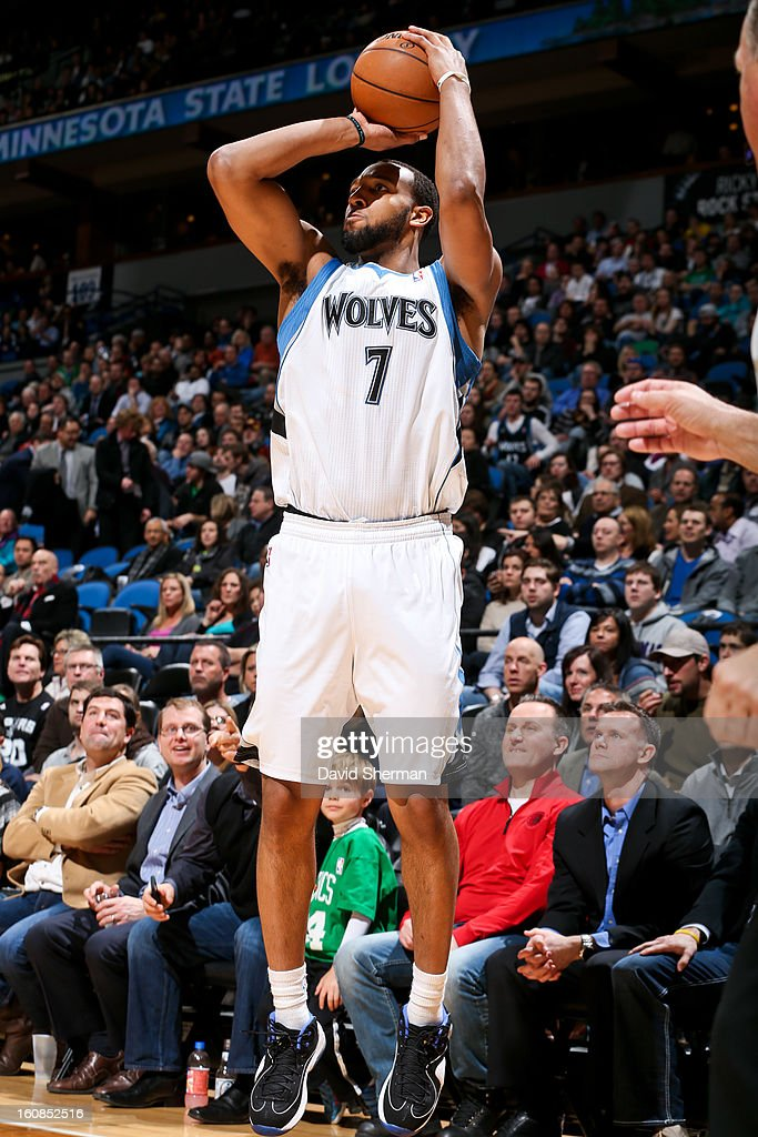 Derrick Williams #7 of the Minnesota Timberwolves shoots against the San Antonio Spurs on February 6, 2013 at Target Center in Minneapolis, Minnesota.