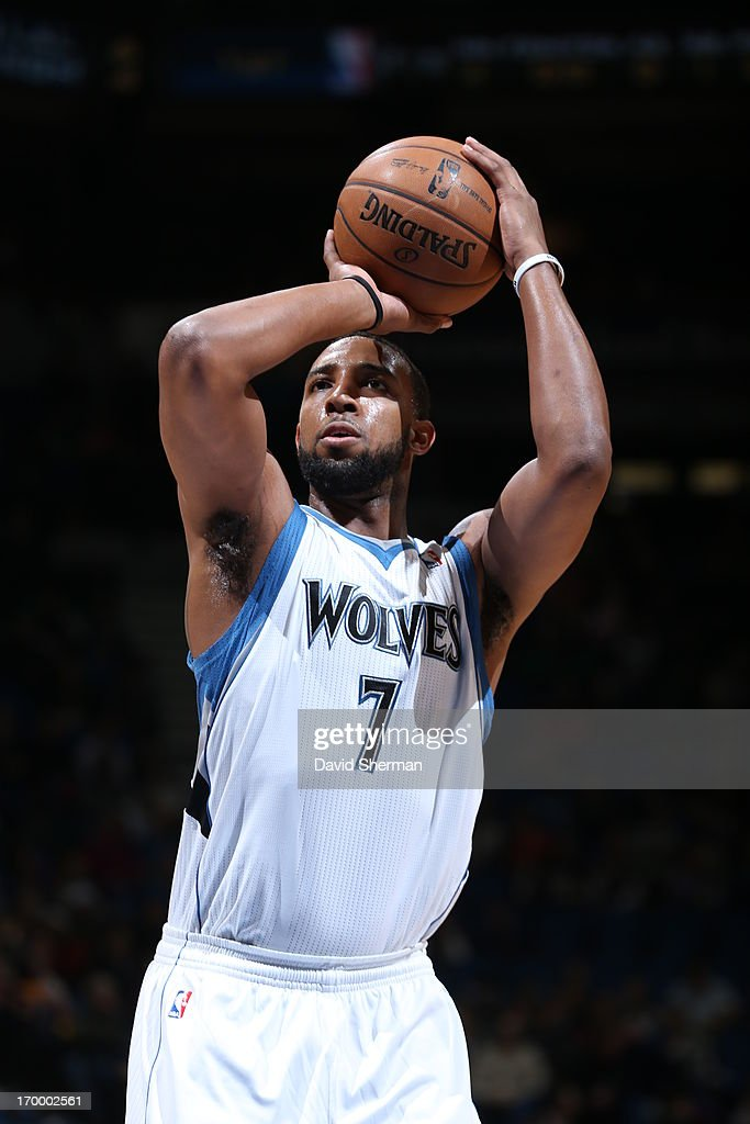 Derrick Williams #7 of the Minnesota Timberwolves shoots the foul shot against the Washington Wizards during the game on March 6, 2013 at Target Center in Minneapolis, Minnesota.