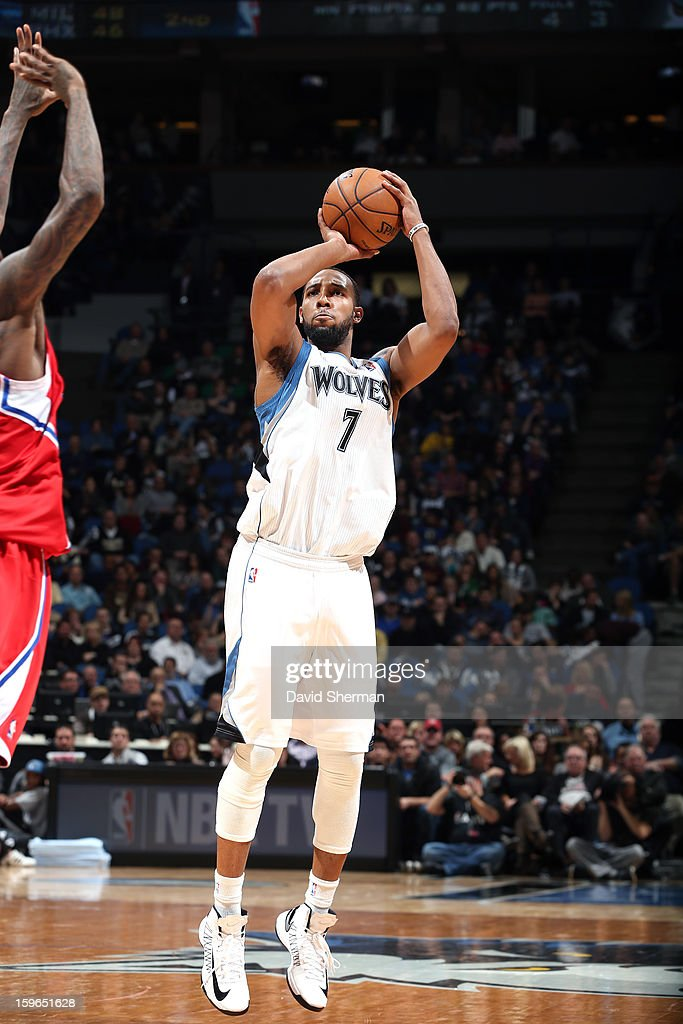 Derrick Williams #7 of the Minnesota Timberwolves takes a deep shot against the Los Angeles Clippers during the game on January 17, 2013 at Target Center in Minneapolis, Minnesota.