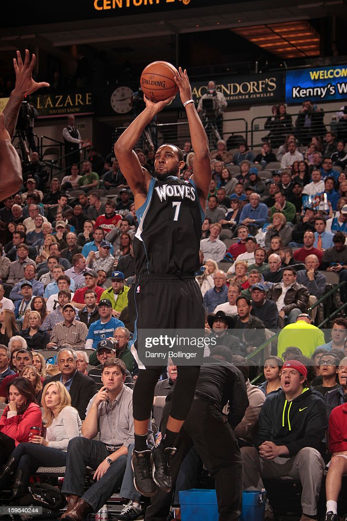 Derrick Williams #7 of the Minnesota Timberwolves takes a shot against the Dallas Mavericks on January 14, 2013 at the American Airlines Center in Dallas, Texas.