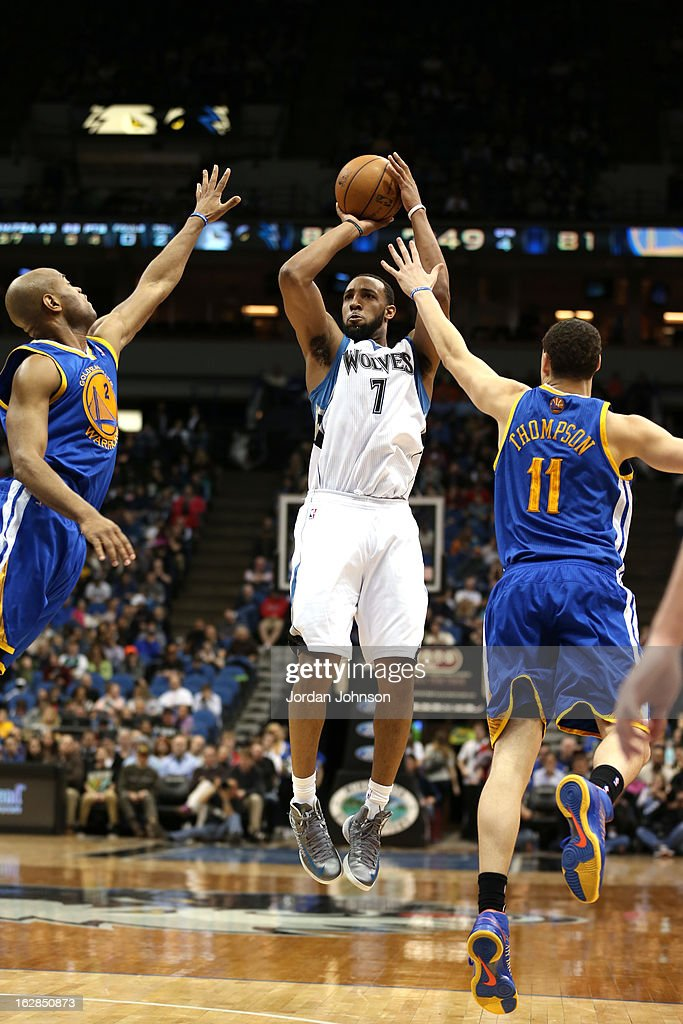 Derrick Williams #7 of the Minnesota Timberwolves takes a shot against the Golden State Warriors on February 24, 2013 at Target Center in Minneapolis, Minnesota.