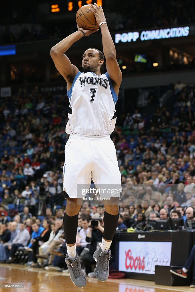 Derrick Williams #7 of the Minnesota Timberwolves takes a shot against the Chicago Bulls on March 24, 2013 at Target Center in Minneapolis, Minnesota.