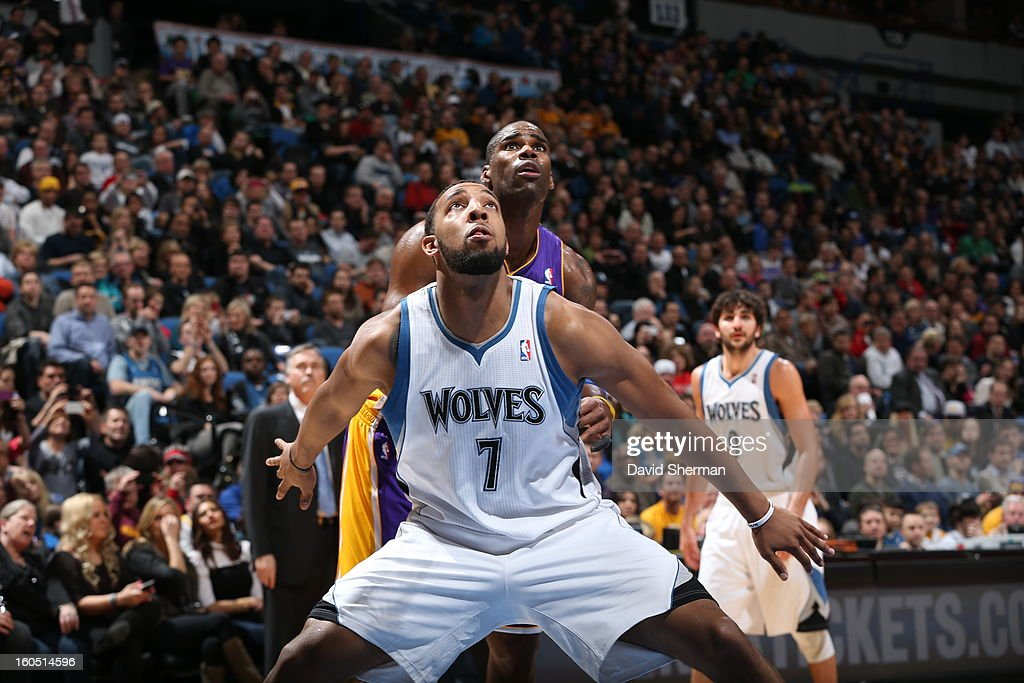 Derrick Williams #7 of the Minnesota Timberwolves waits for a rebound against the Los Angeles Lakers during the game on February 1, 2013 at Target Center in Minneapolis, Minnesota.