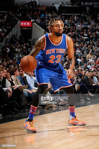 Derrick Williams of the New York Knicks dribbles the ball against the San Antonio Spurs against the San Antonio Spurs on December 8 2016 at the ATT...