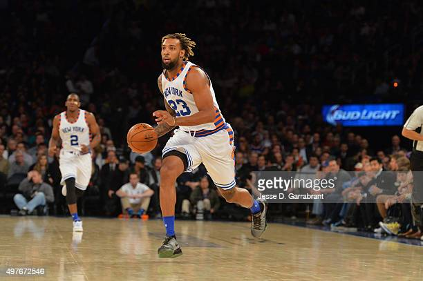 Derrick Williams of the New York Knicks drives to the basket against the Charlotte Hornets at Madison Square Garden on November 17 2015 in New...